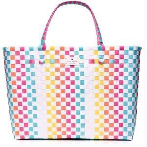 KATE SPADE Rainbow Weave Shopper Beach Tote Bag